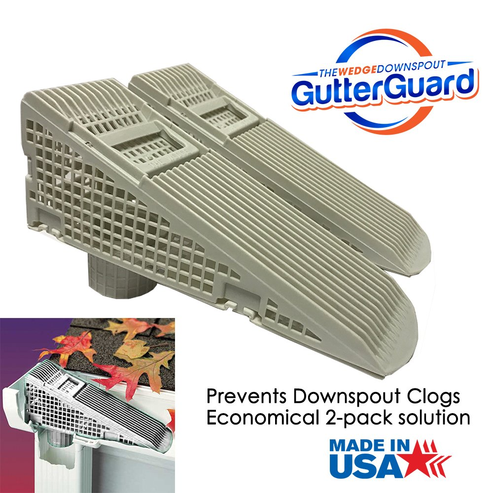 The Gutter Guard Wedge Eliminates Downspout Pipe Clogs From Leaves and Debris 2 Pack 2 pack Grey