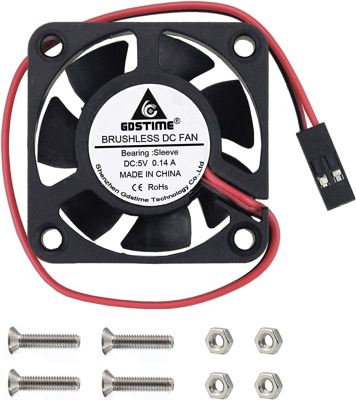 GDSTIME Raspberry Pi 4 Cooling Fan, 40mm x 40mm x10mm 5V Dupont DC Brushless Cooling Fan