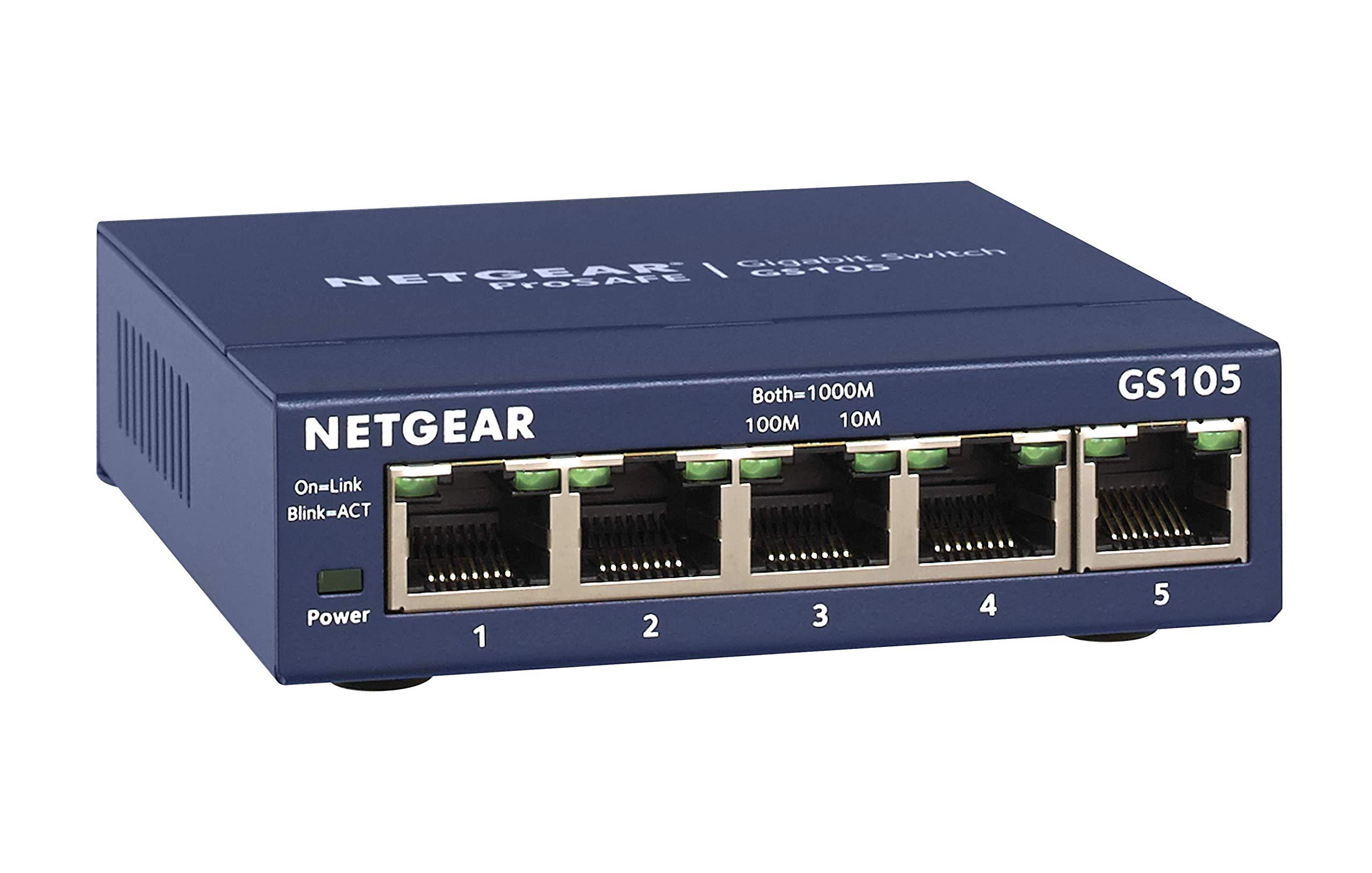 NETGEAR 5-Port Gigabit Ethernet Unmanaged Switch (GS105NA) - Desktop, and ProSAFE Limited Lifetime Protection by NETGEAR