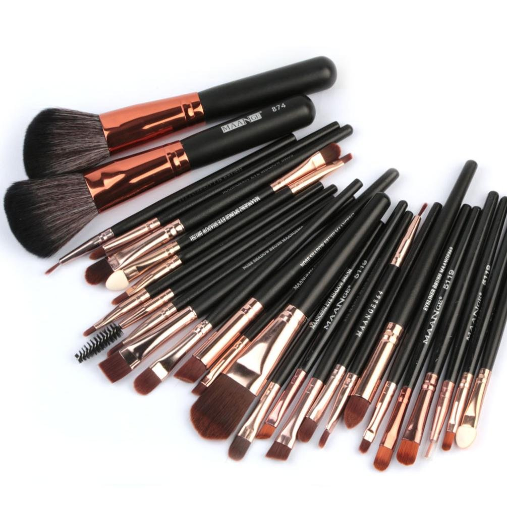 Inverlee 27PC Makeup Brushes Brushes Set Face Powder Foundation Blending Eyeshadow Eyeliner Lip Concealers Blush Brushes Set Cosmetic Make Up Brushes Kit (Black)