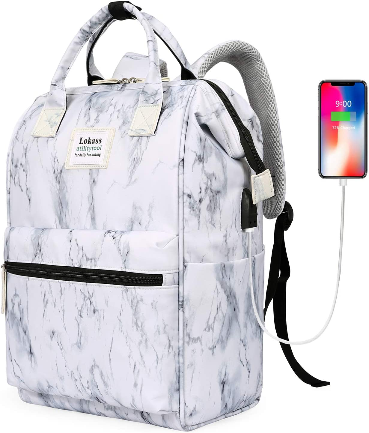 BRINCH Laptop Backpack 15.6 Inch Wide Open Computer Backpack Laptop Bag College Rucksack Water Resistant Business Travel Backpack Multipurpose Daypack with USB Charging Port for Women Men, Marble