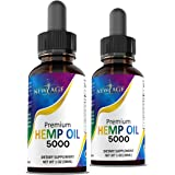 5000 Hemp Oil Extract for Pain, Stress Relief 2-Pack - Hemp Extract - Grown & Made in USA - Natural Hemp Drops - Helps with S