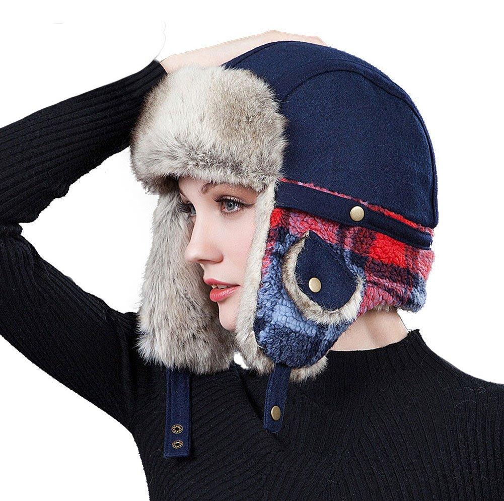Roffatide Women Imitation Fur Trapper Hat Ear Flaps Chin Strap Trooper Hunting Ushanka Aviator Russian Bomber Cap