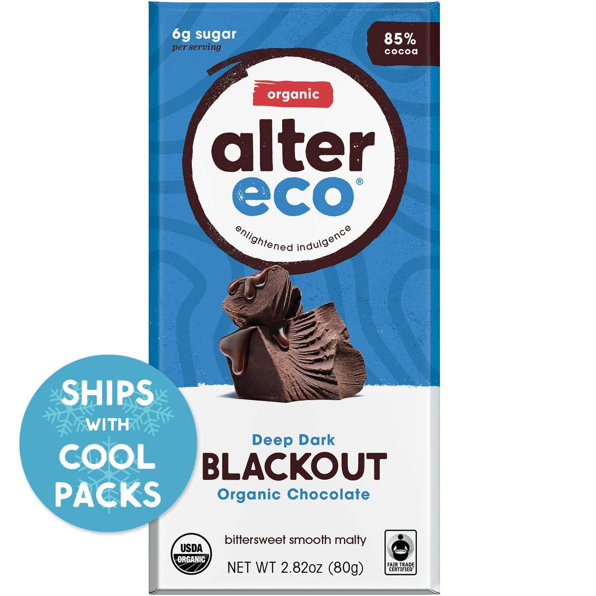 CDM product Alter Eco   Dark Blackout   85% Pure Dark Cocoa, Fair Trade, Organic, Non-GMO, Gluten Free Dark Chocolate Bar, Single Bar big image