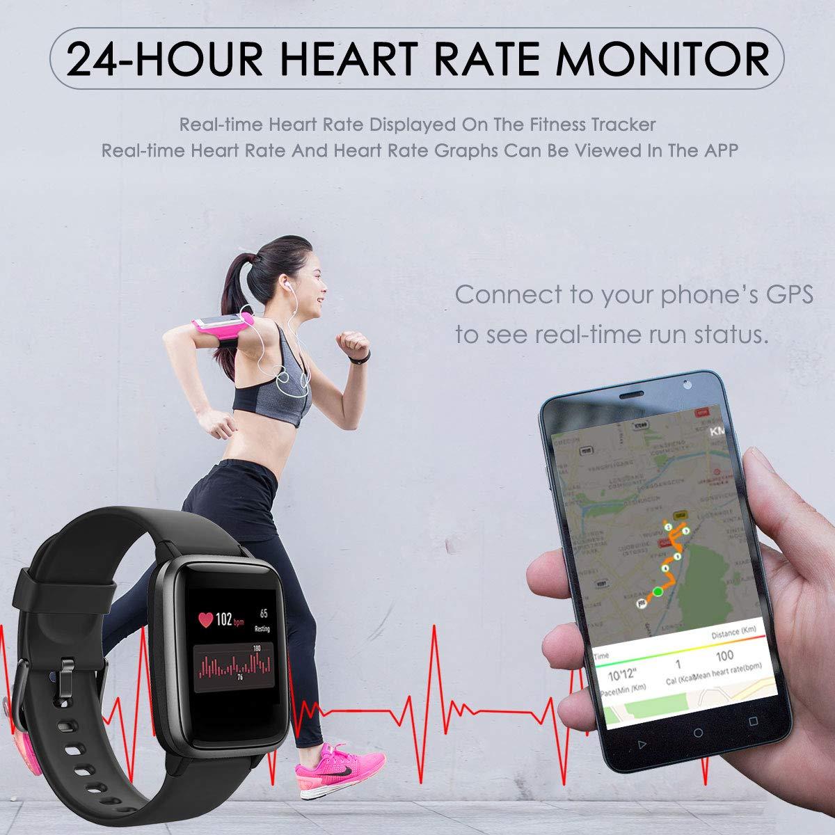 CHEREEKI Smartwatch, Fitness Tracker Orologio IP68 Impermeabilità con Cardiofrequenzimetro, Contapassi e Calorie da Polso, Activity Tracker Donna Uomo per iPhone Huawei Samsung Xiaomi (Nero)