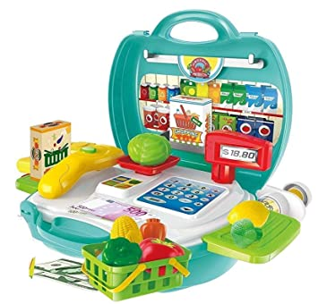 Vivir 23 Pieces Cash Register Organic Shop Play Set Toys for Kids