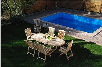 XXS® Möbel Gartenmöbel Set Aruba XL 9tlg Teak Holz Pflegeleicht Holz Tisch  Ausziehbar Mit Schirmloch