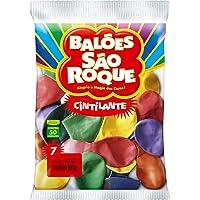 São Roque 106112050 - Balao Cintilante N.070 Cores Sortidas - Pacote com 50, Multicor