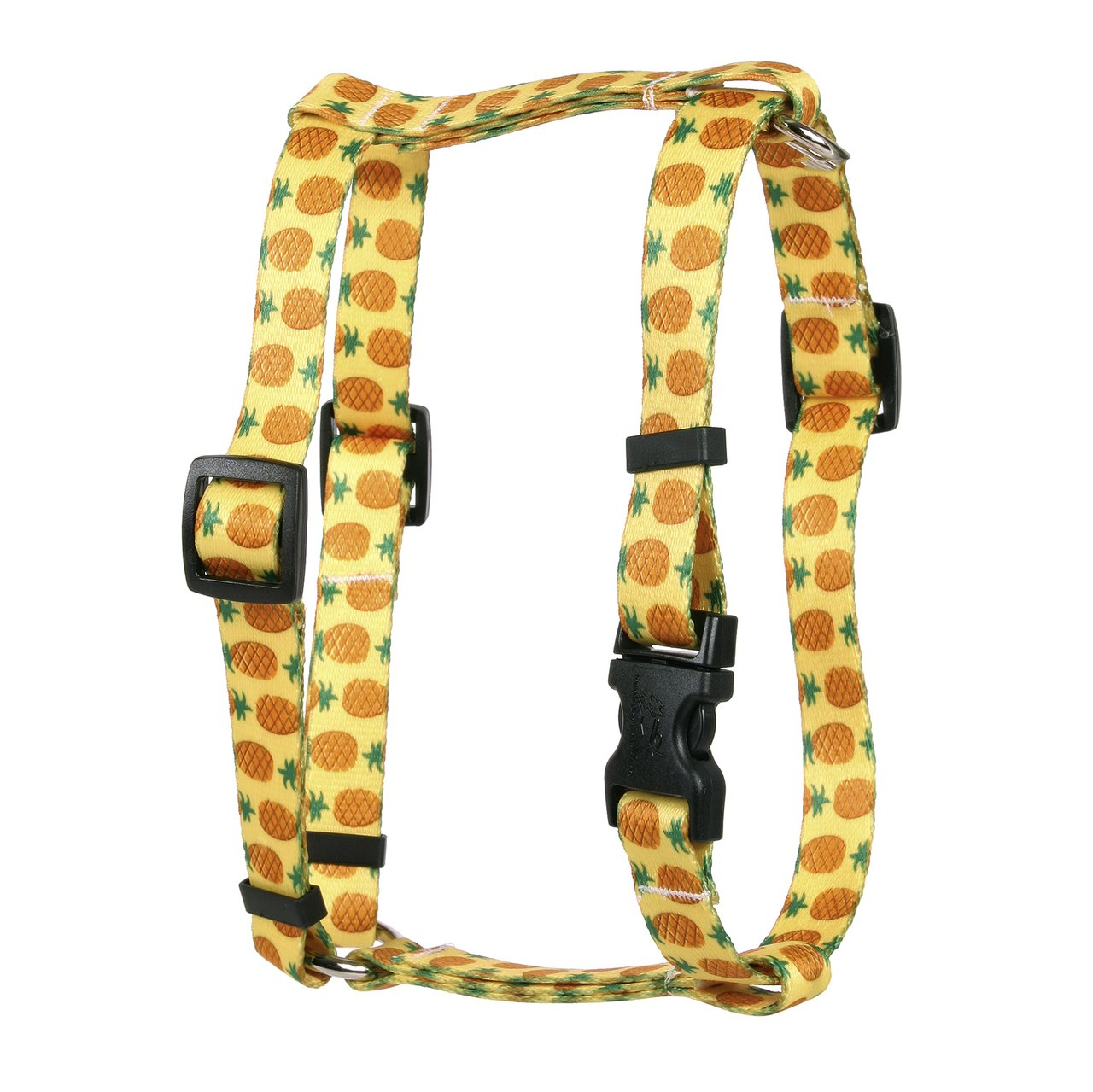 Yellow Dog Design Pineapples Yellow Roman Style H Dog Harness, Large-1'' Wide and fits Chest of 20 to 28''