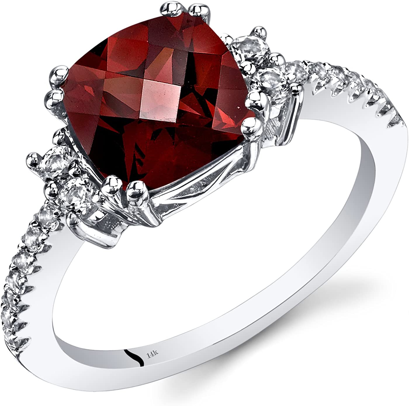 Womens Gemstone 5 Stone Wedding Ring with Red Garnet 14K White Gold Plated