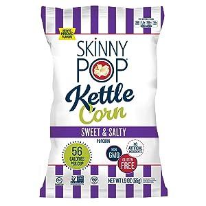 SkinnyPop Sweet & Salty Kettle Popcorn, 12ct, 1.9oz Individual Snack Size Bags, Skinny Pop, Healthy Popcorn Snacks, Gluten Free