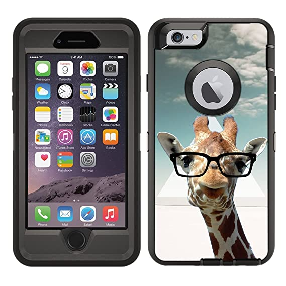 size 40 700c8 7effe Protective Designer Vinyl Skin Decals/Stickers for OtterBox Defender iPhone  6 / iPhone 6S Case -Hipster Giraffe Geek Glass Design Patterns - Only ...