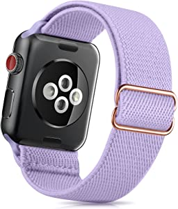 ZALAVER Stretchy Solo Loop Band Compatible with Apple Watch Bands 38mm 40mm 42mm 44mm, Nylon Adjustable Braided Sport Elastics Wristband Compatible with iWatch Series 6/5/4/3/2/1 SE Women Purple