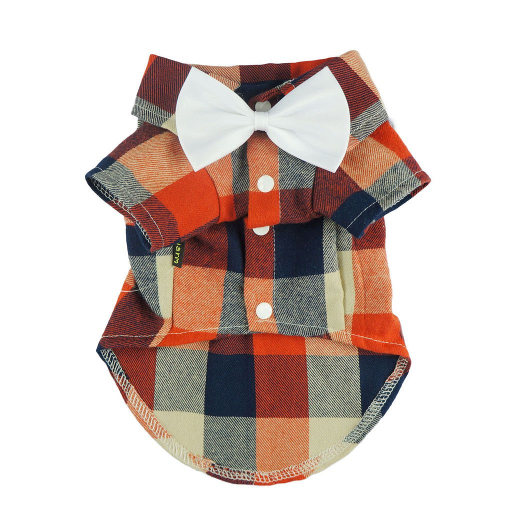 Fitwarm Stylish Casual Dog Plaid Shirt Gentle Western Shirt Wedding Clothes Pet Shirt + Wedding Bowtie, XXL