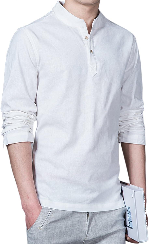 Camisas de Hombres, Dragon868 Moda Hombre Lino Manga Larga Slim ...