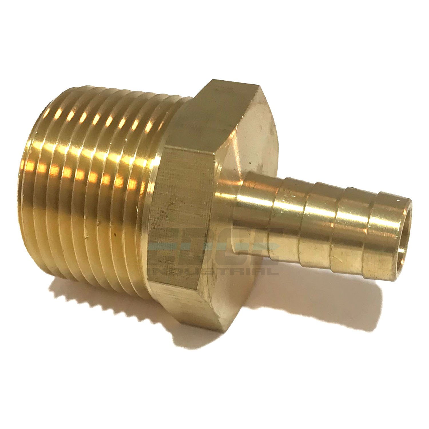 EDGE INDUSTRIAL 1/2'' HOSE ID TO 1'' MALE NPT MNPT STRAIGHT BRASS FITTING FUEL/AIR/WATER/OIL/GAS/WOG