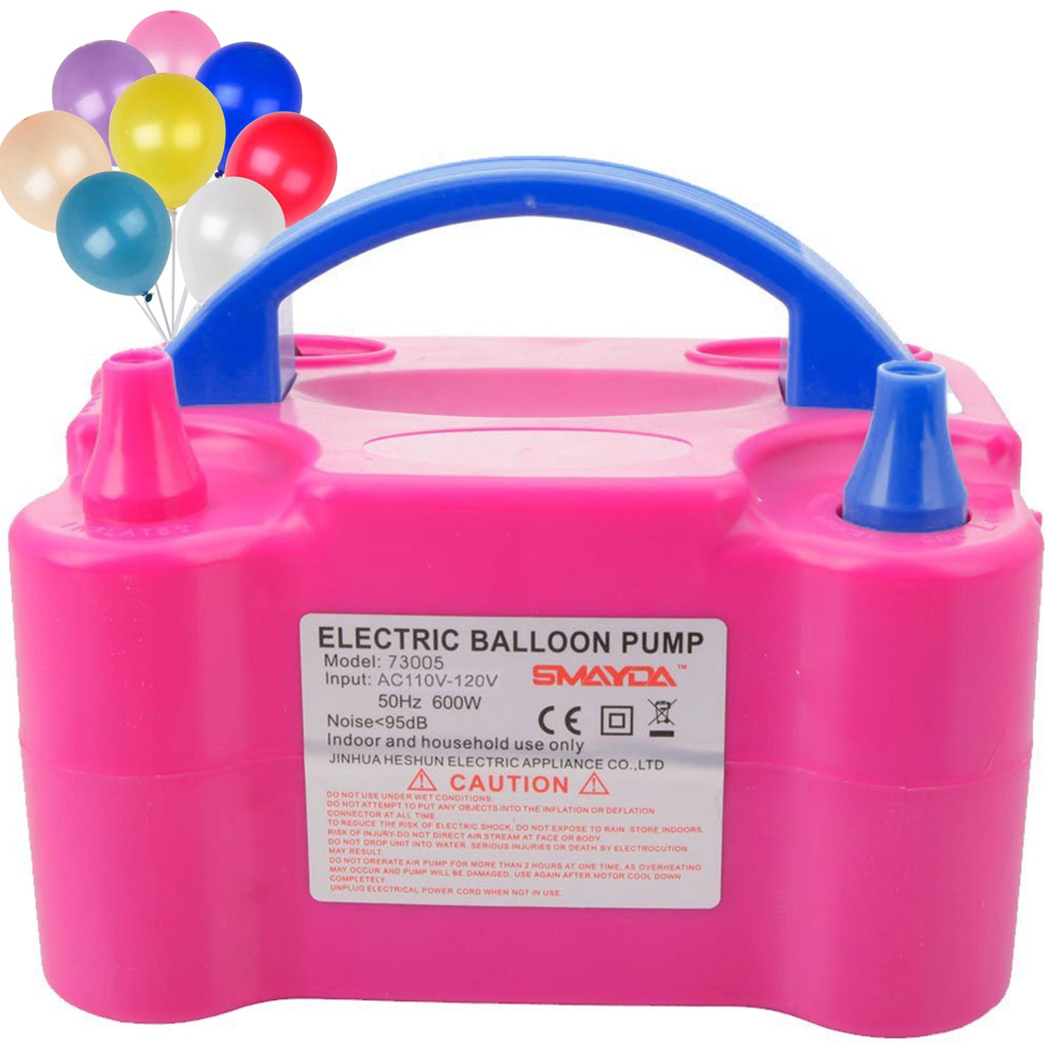 Pruk Portable Electric Balloon Air Pump - 600W 110V Dual Nozzle Blower Balloon Inflator for Wedding Birthday Party Activities Decoration