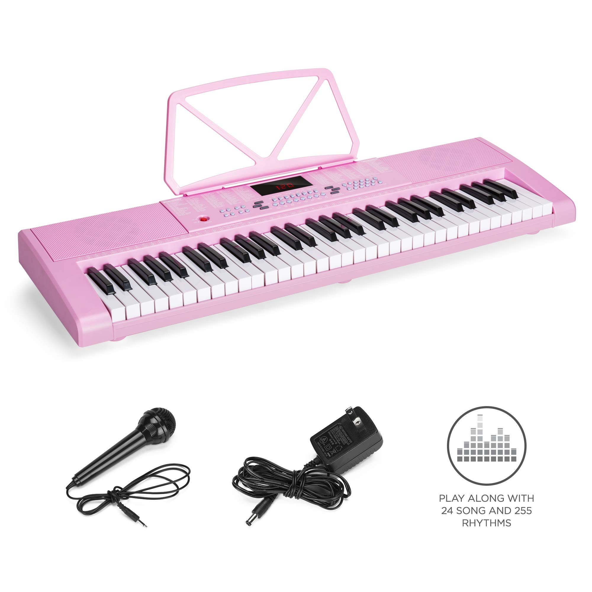 Best Choice Products 61-Key Portable Electronic Keyboard Piano w/LED Screen, Record & Playback Function, Microphone, Headphone Jack (Pink) by Best Choice Products