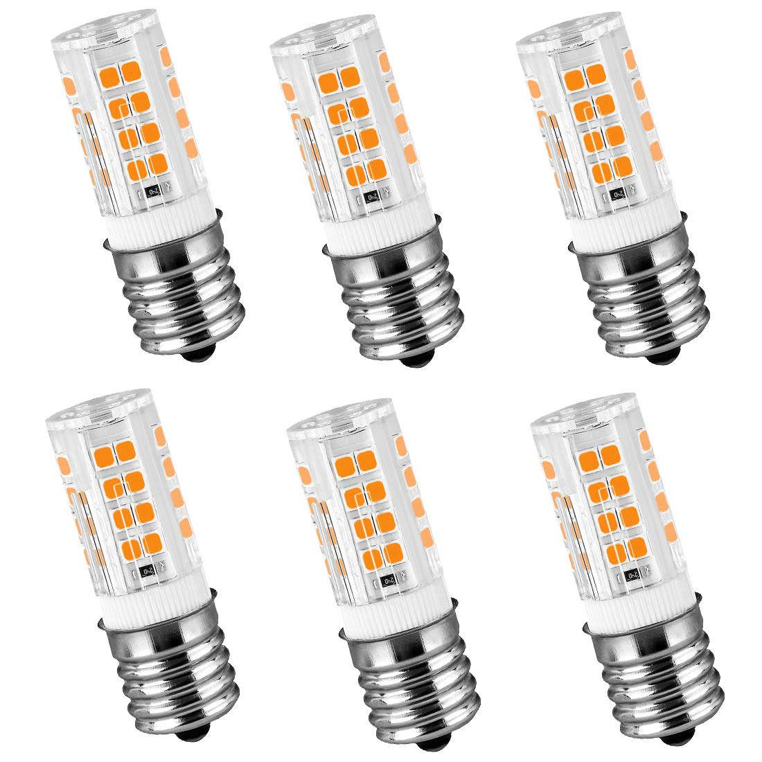LeMeng 120V E17 LED Bulb 4W 400lm Warm White 2700k,Non-dimmable,35watt Halogen Replacement,Appliance Bulbs Microwave Oven Stovetop Light, 6-Pack