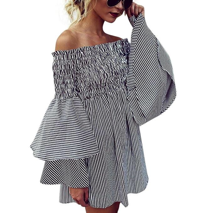 Yanhoo Moda Abito Gonna T-shirt sera allentata Vestito Abito Donna Elegante  Casual Spiaggia Dress 9476df22e18