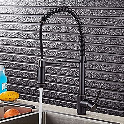 Single-Handle Kitchen Mixer Sink Tap with Pull Out Spray 360 Degree Swivel Kitchen Faucet Sprayer Kitchen faucet pull spring can be rotated hot and cold sink ORB with US Standard Fittings
