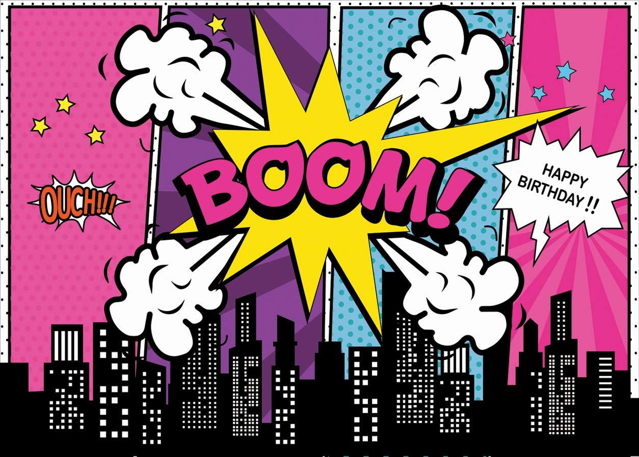 LYWYGG 7x5FT Vinilo Ni/ños Fotograf/ía Fondo colorido de dibujos animados Fondo de edificios de la ciudad Tel/ón de fondo para la fiesta de cumplea/ños Fiesta de bienvenida al beb/é reci/én nacido CP-137