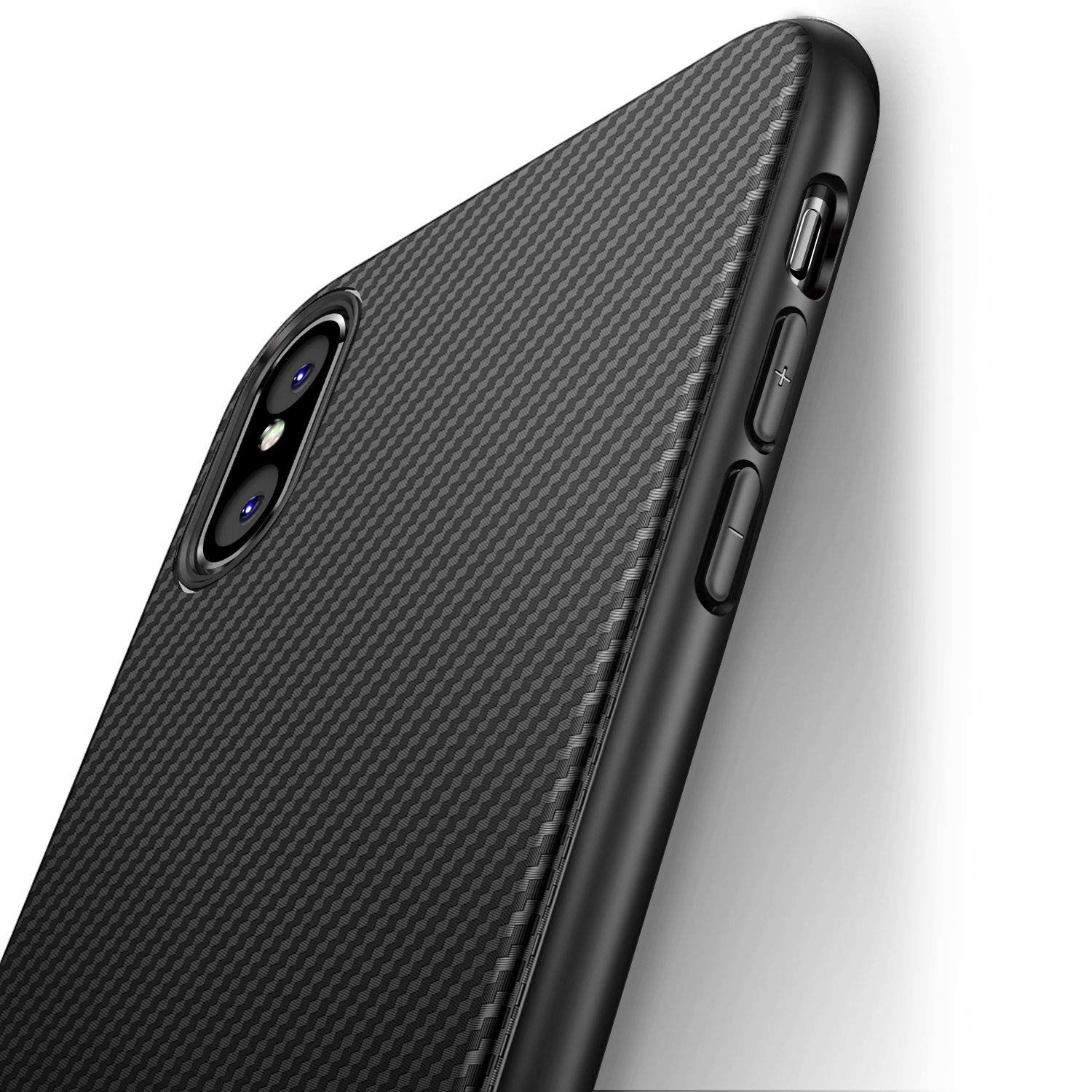 iCOCEN iPhone Xs Max Case [Carbon Fiber Texture Design] Durable Light Shockproof Cover Full Protective Slim Fit Shell Soft TPU Silicone Gel Bumper
