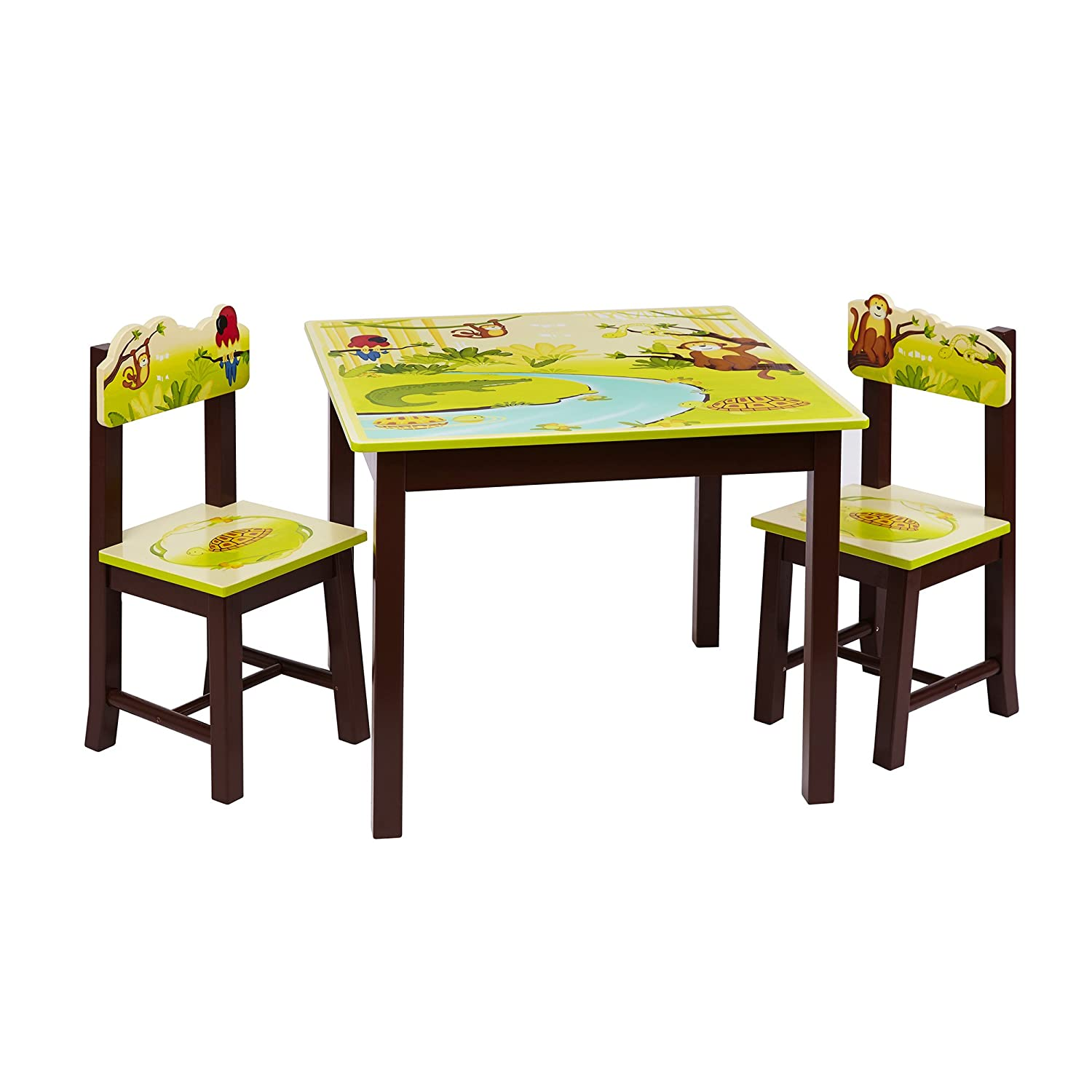Amazon.com: Guidecraft Hand-painted Jungle Party Table & Chairs Set ...