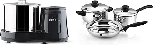 Butterfly Rhino Plus Wet Grinder, 2L (Grey) , 150W & Butterfly Stainless Steel Cookware Set with Sauce Pan, Fry Pan and Induction Bowl with lid, 3…