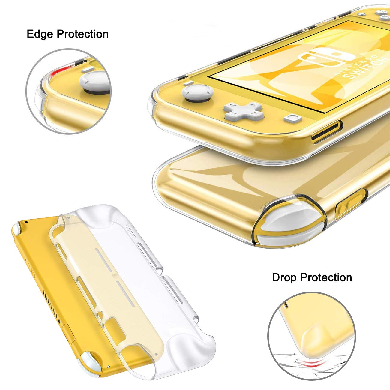 Accessories Kit 9 in 1 for Nintendo Switch Lite, Carrying Case for Switch Lite Come with 8 Game Cartridge, Clear TPU Cover Case, 2.5D Tempered Glass Screen Protector, 4 Pack Thumb-Grip for Switch Lite
