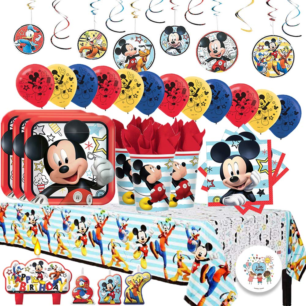 Another Dream Disney Mickey Mouse On The Go Mega Deluxe Birthday Party Pack for 16 with Plates, Napkins, Cups, Tablecover, Candles, Hanging Swirl Decorations, Balloons, and Birthday Pin