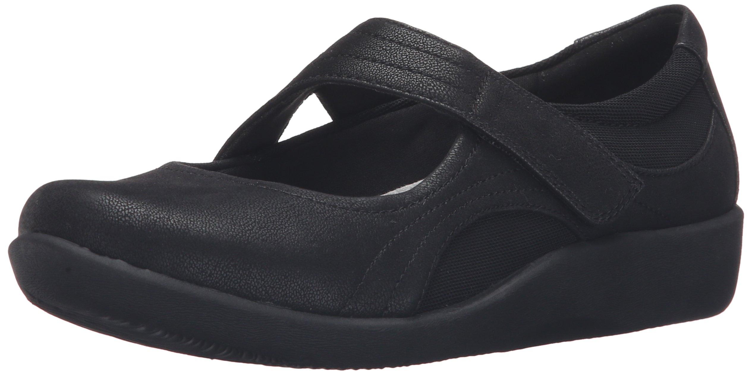 CLARKS Women's Sillian Bella Mary Jane Flat,Black Synthetic,8.5 M US