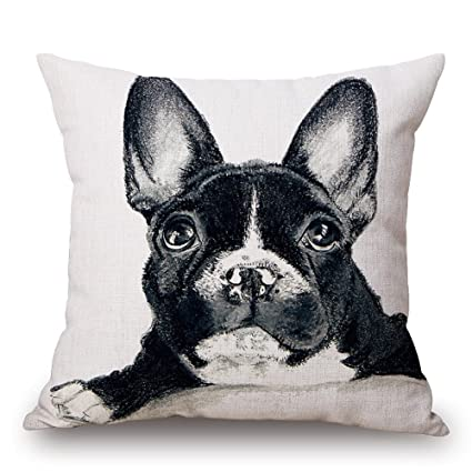 Cute Dog Print Throw Pillow Case Dachshund French Bulldog Decorative Pillows For Sofa Seat Cushion Cover 45x45cm Home Decor Excellent Quality Home Textile Table & Sofa Linens