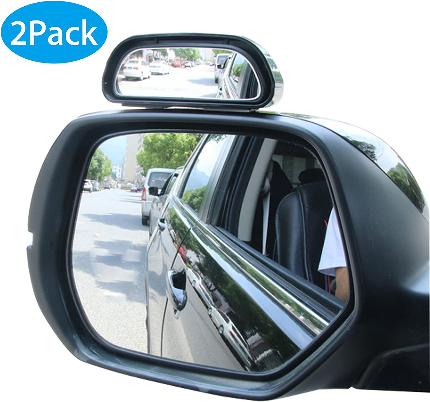 TOMALL 2 in 1 Car Blind Spot Mirror 360 Rotation Adjustable HD Glass Wide Angle Convex Rear View Mirror Blind Spot for Front//Rear wheels Observation Self Adhesive Universal Accessories Left
