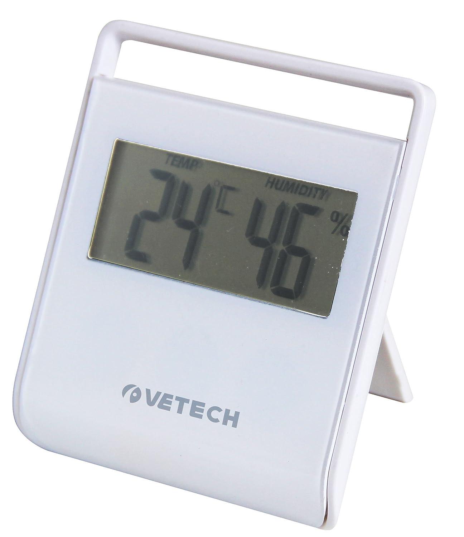 Vetech Square 10.199999999999999x1.8x20.2 cm Bianco Termometro con Hygrometro con Supporto