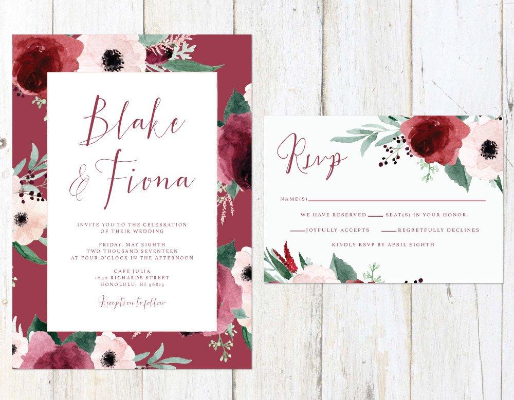 Amazon.com: Marsala and Blush Wedding Invitation, Blush and Maroon ...