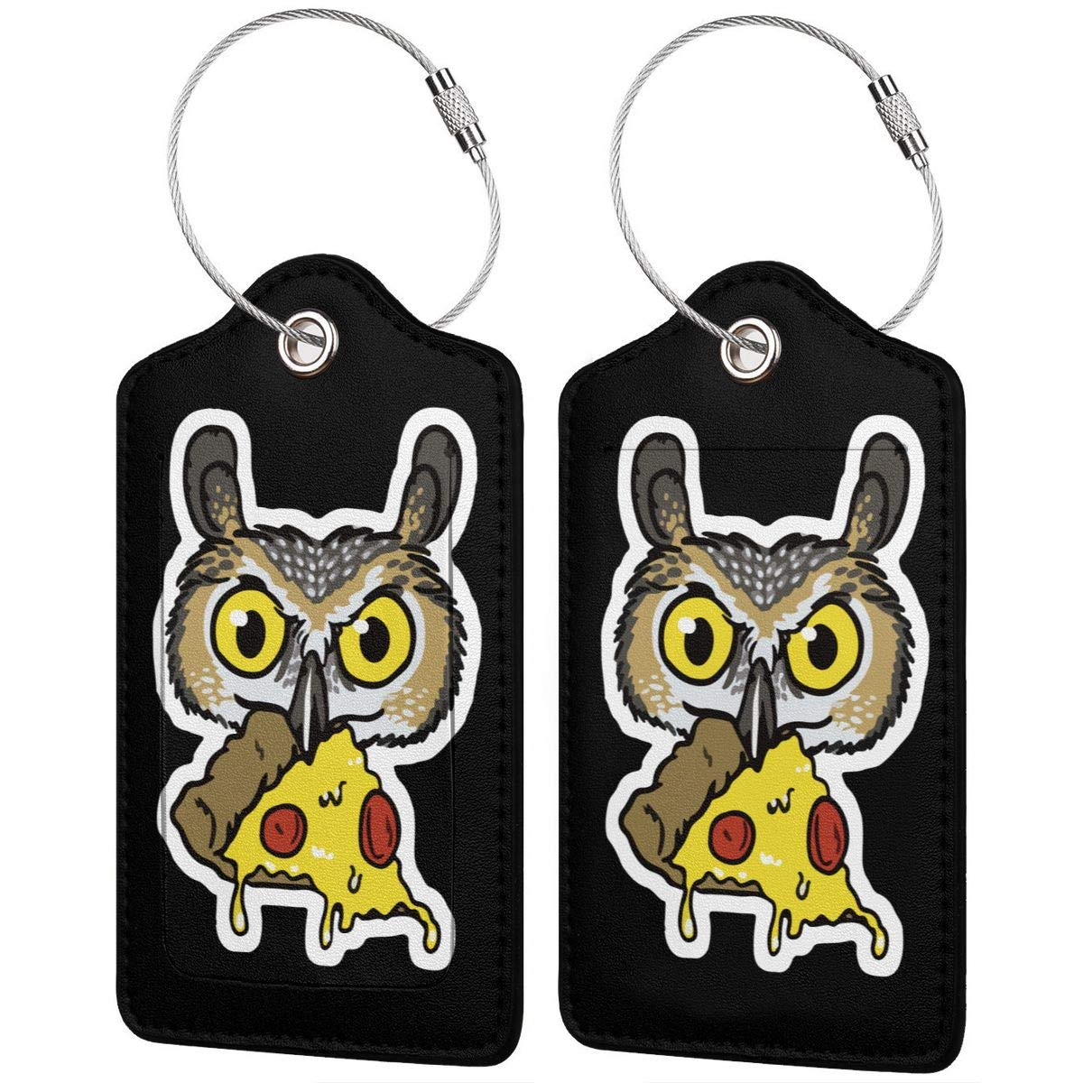 Owl Eating Pizza Travel Luggage Tags With Full Privacy Cover Leather Case And Stainless Steel Loop