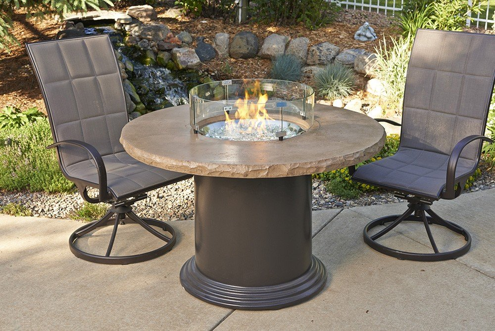 Amazon.com: Outdoor Greatroom Colonial Chat Height Fire Pit Table With  Mocha Top: Garden U0026 Outdoor