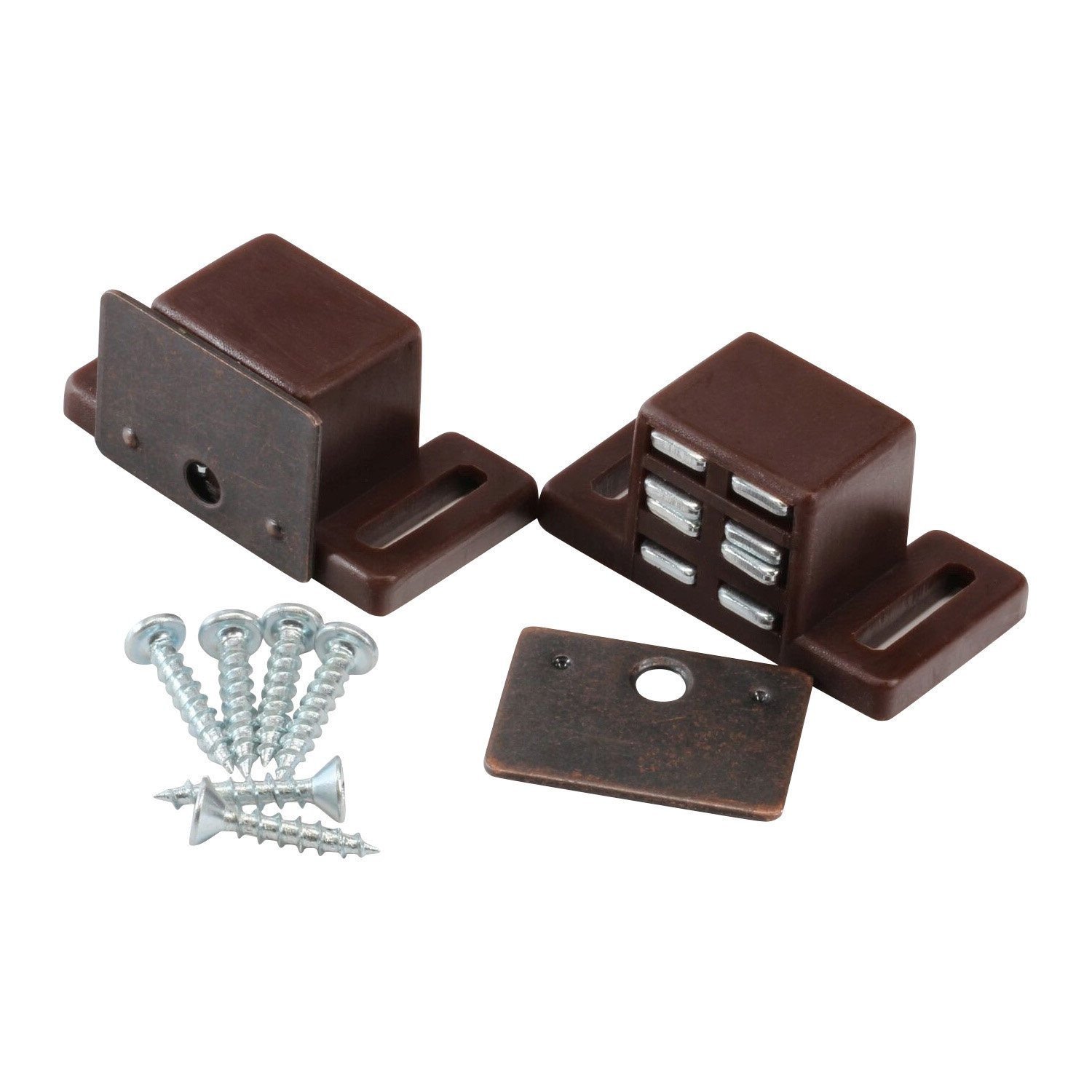 Rok Hardware Heavy Duty 15 lb High Magnetic Cabinet Door Catch Latch, Brown, (10 Pack)
