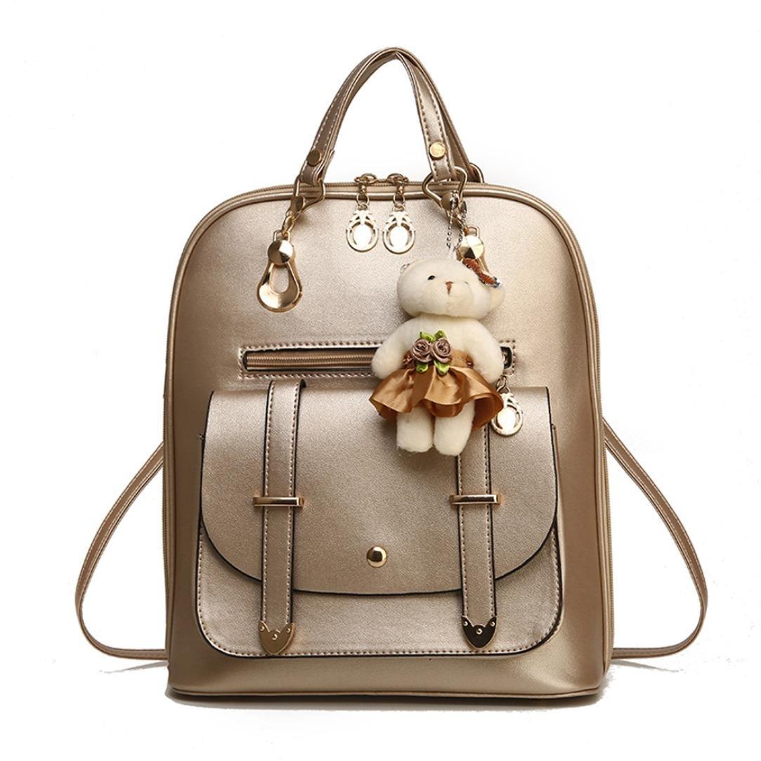 Women Handbag, Hunzed Girl School Leather Shoulder Bag Backpack Women Crossbody Bag Travel Rucksack Purse (Glod)