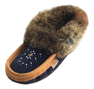 Laurentian Chief Womens Indoor Navy Suede Slippers with Rabbit Fur Collar Moccasins ...