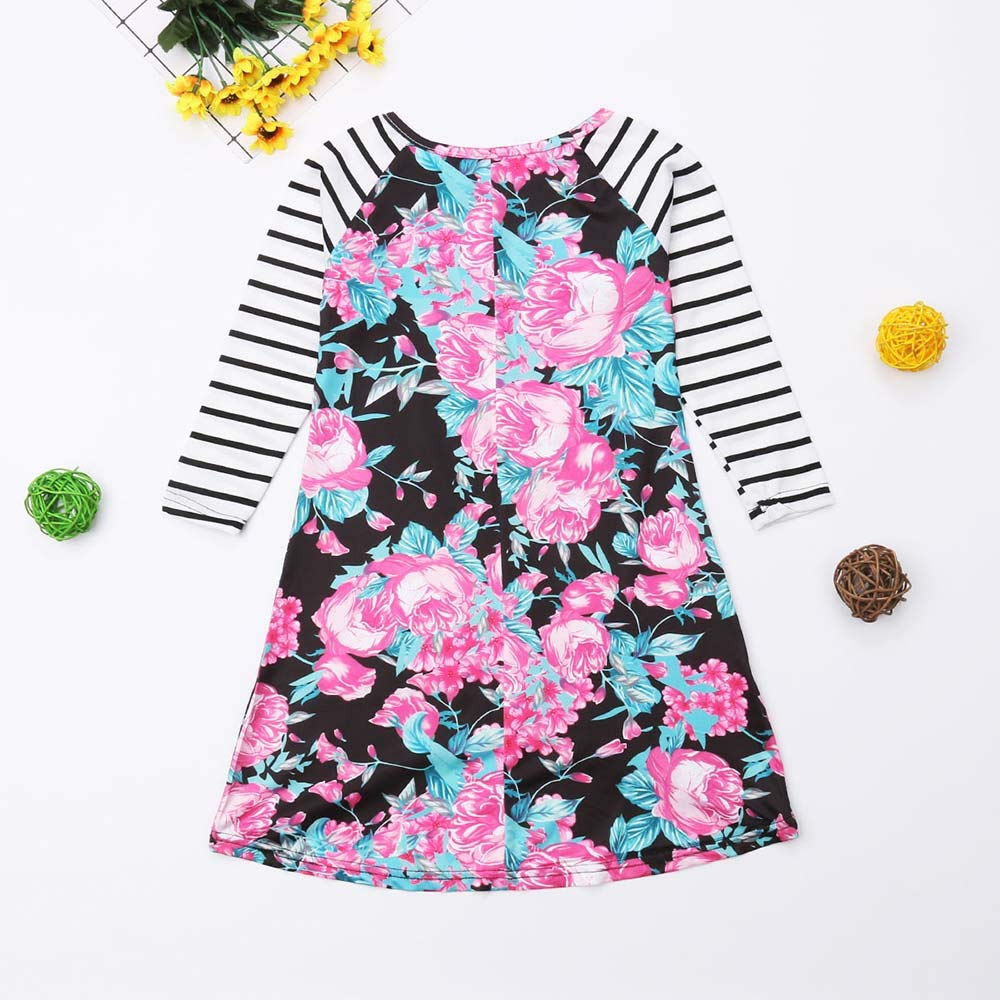Mommy and Me Dresses Boho Floral Summer Casual Blouse Dresses Family Matching Flowy Maxi Dress Outfits