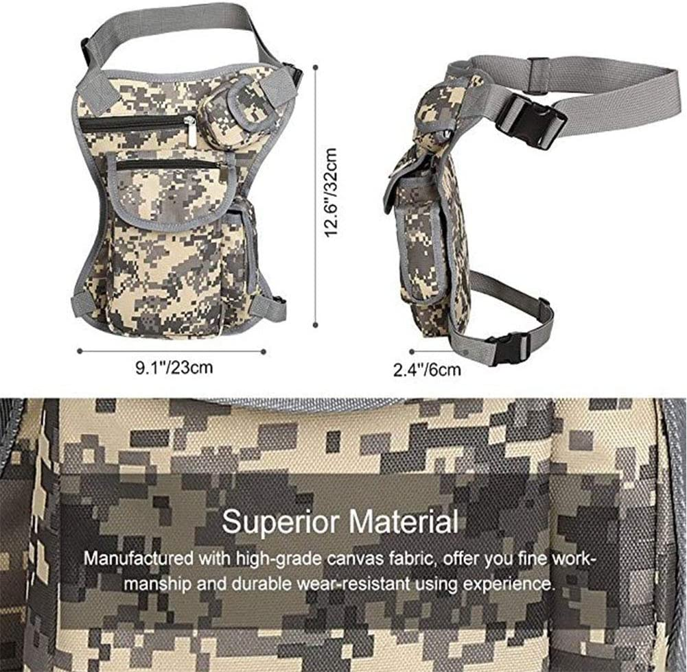 Camouflage RANRANHOME Practical Tactics Waist Pouch Mens Drop Leg Bag Retro Canvas Waist Pouch Riding Travel Hiking,