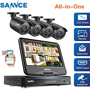 """True All-in-One Wired Security Camera System with Built-in 10.1"""" LCD Monitor,SANNCE 4CH 1080P Surveillance DVR Recorder with 4Pcs Metal 120ft Night Vision Cameras, Easy Remote Access (No HDD Included)"""