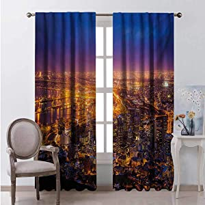 Toopeek City Bedroom Rod Pocket Blackout Curtains Cape Town Panorama at Dawn South Africa Coastline Roads Architecture Twilight Living Room Color Curtains 2 Panels W96 x L72 Inch Marigold Blue Pink