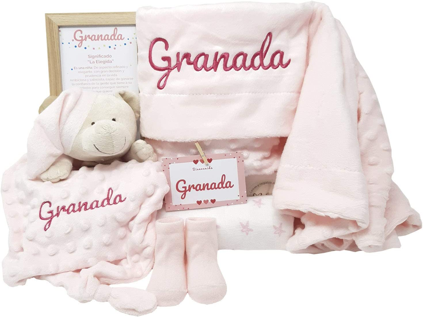 MabyBox True Colors | Canastilla bebe | Regalo Babyshower | Canastilla Bebé Recien nacido Personalizada (Rosa)