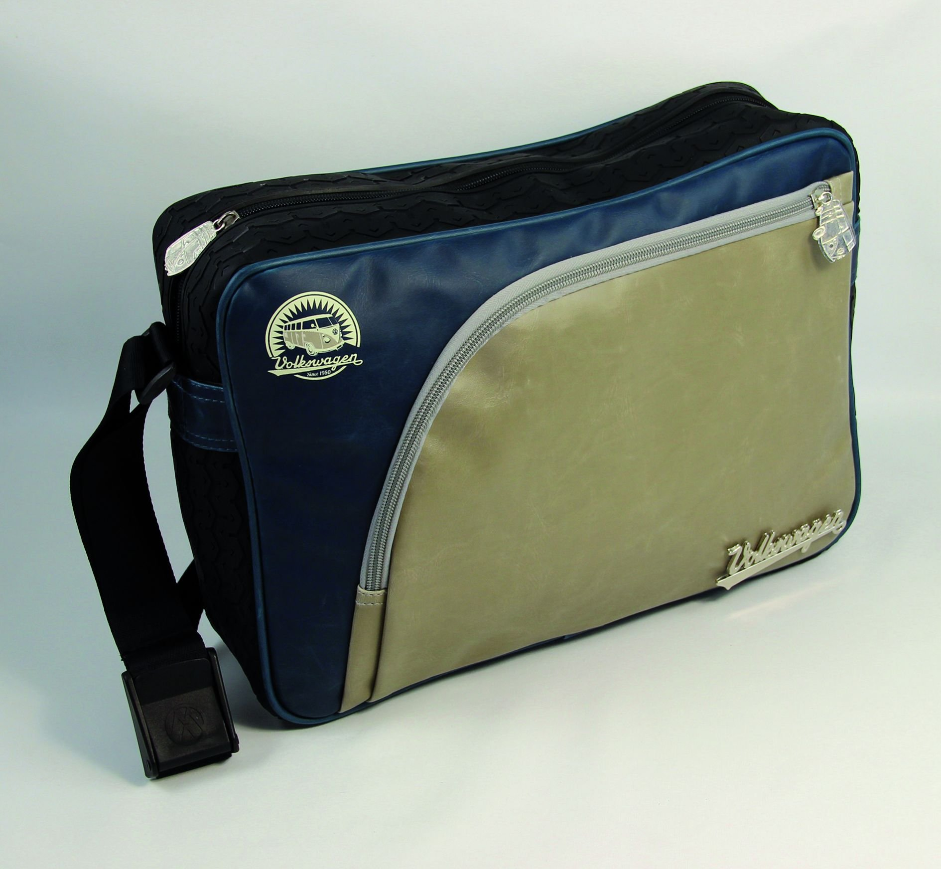 VW Collection by Brisa Tire Tread Messenger Bag, Blue by VW Collection by Brisa