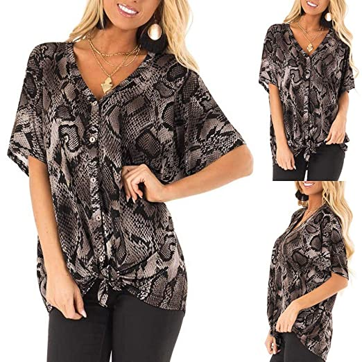348874599232ec Women Summer Blouses and Tops, Alonea Fashion Womens Ladies Short Sleeve  Snake Print Button Tee Casual Shirt at Amazon Women's Clothing store: