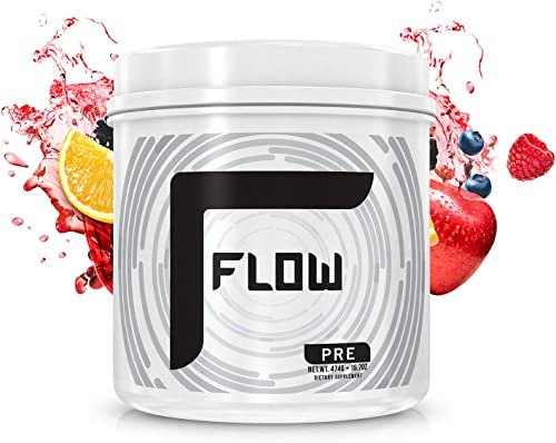 FLOW Supplements – PRE Workout Supplement, Increases Blood Flow, Boost Energy and Endurance, Creatine-Free, Natural Caffeine – Fruit Punch, 30 Servings