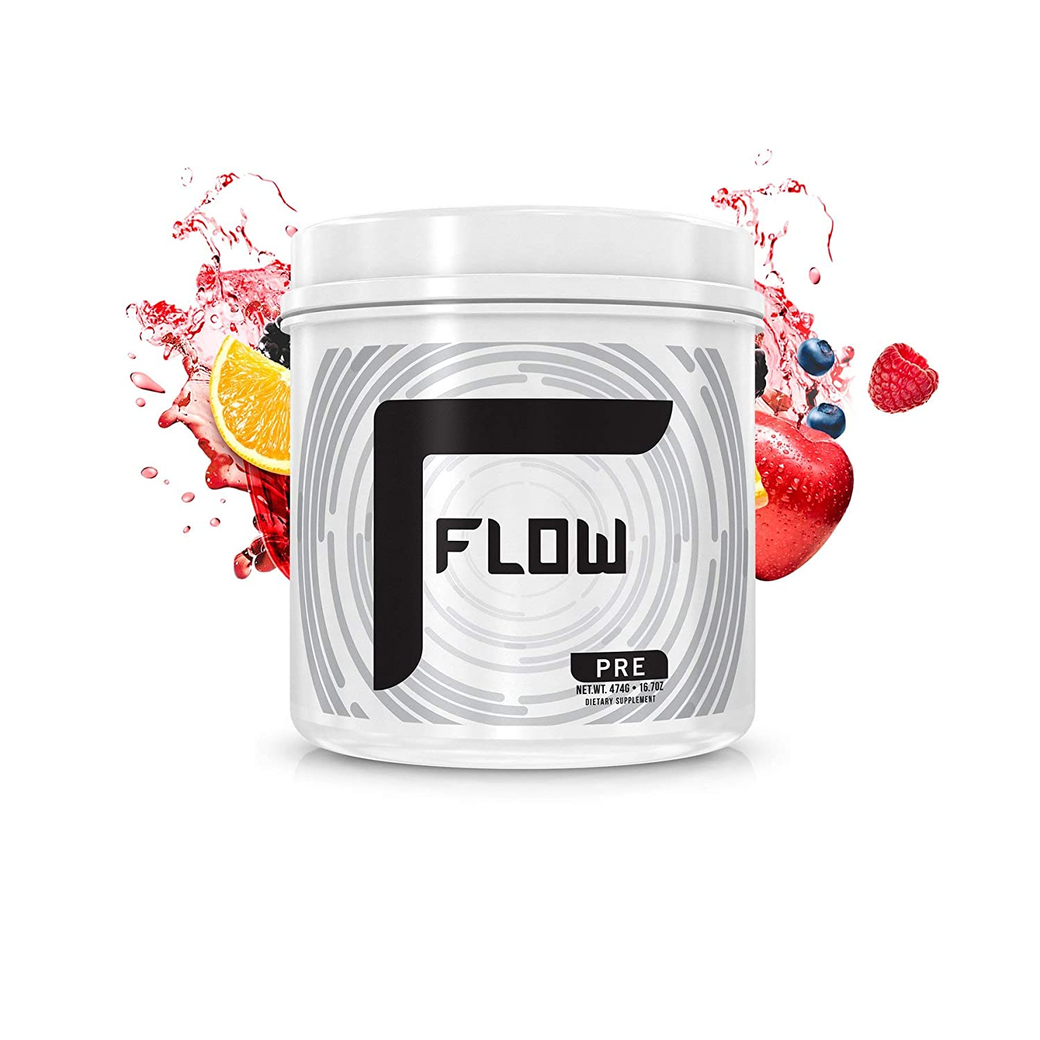 Flow Supplements by Zachary Levi Pre Workout Powder Caffeine Focus Nitric Oxide Creatine Free Beta Alanine Taurine Green Tea Extract Citrulline 30 Serving Fruit Punch